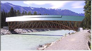 Timber frame bridge across the Kicking Horse River. photo courtesy www.sitesatwork.com